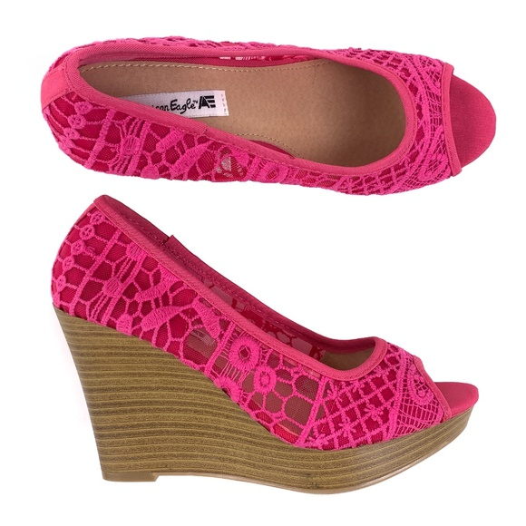 9b071567fa American Eagle By Payless Shoes | Wedge Platform Crochet Pink 65 ...